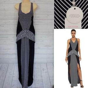 Sass & Bide Walk Strong Maxi Dress Slits Navy M